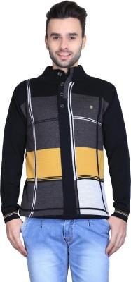 BRAVEZI Self Design Turtle Neck Casual Men,s Black, Grey, Yellow Sweater