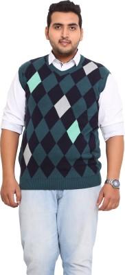 John Pride Printed V-neck Men's Green Sweater