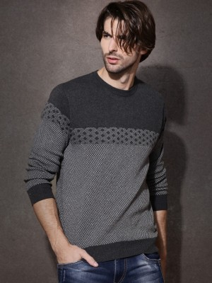 Roadster Solid Round Neck Casual Men's Grey Sweater