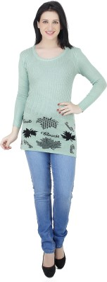 Camey Printed Round Neck Casual Women's Green Sweater