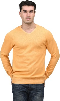 Mettle Solid V-neck Men's Orange Sweater