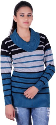 eWools Striped Round Neck Party Women Blue, Grey, Black Sweater at flipkart