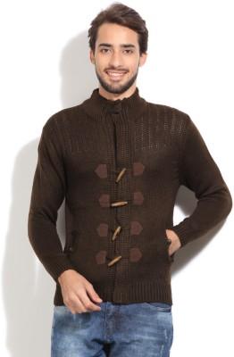 John Players Self Design Casual Men's Brown Sweater