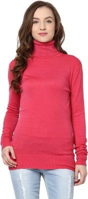 Yepme Solid Turtle Neck Casual Women's Pink Sweater