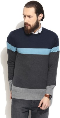 COBB Striped Round Neck Casual Men's Dark Blue Sweater