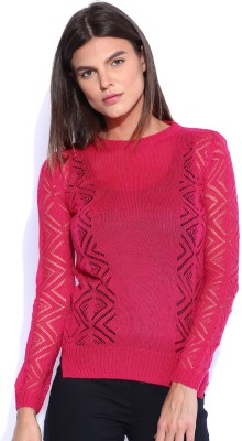 Lee Solid Round Neck Casual Women's Pink Sweater