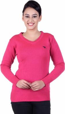 Japroz Solid V-neck Casual Girls Pink Sweater
