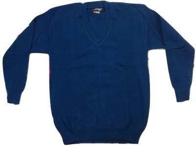 Rajindras Solid V-neck Casual Men's Dark Blue Sweater