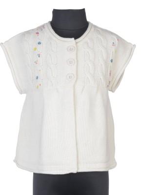 Addyvero Embroidered Round Neck Casual Girl's White Sweater