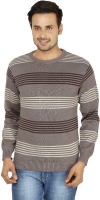 Fizzaro Striped Round Neck Casual Men's Grey, Brown Sweater
