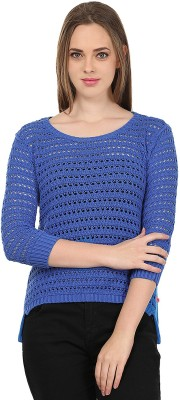 United Colors of Benetton Solid Round Neck Casual Women's Blue Sweater