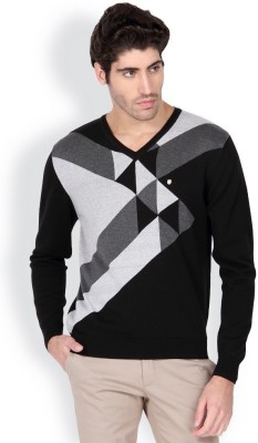 Blackberrys Printed V-neck Men's Black Sweater