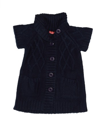 Elle Self Design Round Neck Casual Girl's Dark Blue Sweater