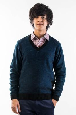 Srota Solid V-neck Casual Men's Blue Sweater