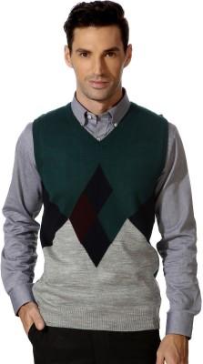 Peter England Geometric Print Casual Men's Green Sweater