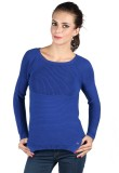 Again Solid Round Neck Casual Women Blue...