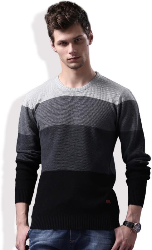 WROGN Self Design Round Neck Casual Men Black, Grey Sweater