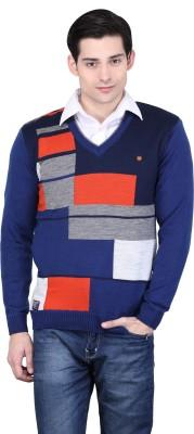 BRAVEZI Graphic Print V-neck Casual Men,s Blue, Grey, Orange, Multicolor Sweater