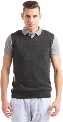 Prym Solid V-neck Casual Men's Black Sweater