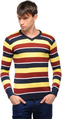 Yepme Striped V-neck Casual Men,s Yellow, Red Sweater