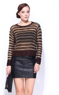 D Muse by DressBerry Woven Round Neck Casual Women's Brown Sweater