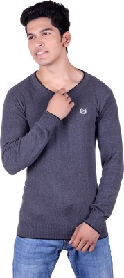Ogarti Solid V-neck Casual Men,s Grey Sweater