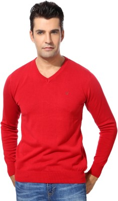 Allen Solly Solid V-neck Casual Men's Red Sweater