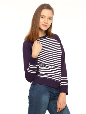 Vvoguish Full Sleeve Striped Womens Sweatshirt