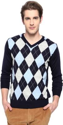 Allen Solly Argyle V-neck Casual Men's Blue Sweater