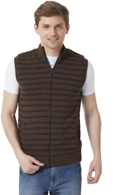 Peter England Striped Round Neck Men's Brown Sweater