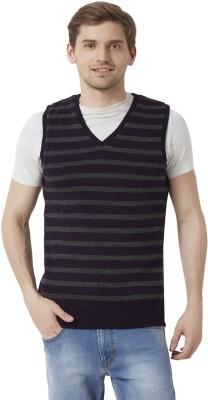 Peter England Sleeveless Striped Men's Sweatshirt