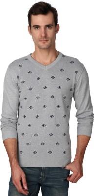 Van Heusen Geometric Print V-neck Casual Men's Grey Sweater