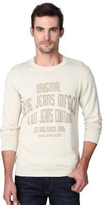 Van Heusen Woven Round Neck Party Men's Beige Sweater