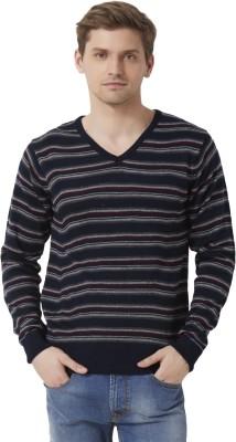 Peter England Striped V-neck Men's Dark Blue Sweater