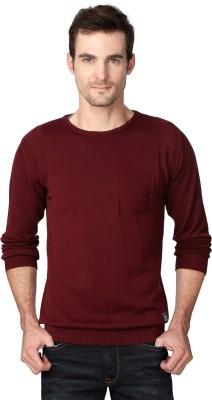 Van Heusen Self Design Round Neck Party Men's Maroon Sweater