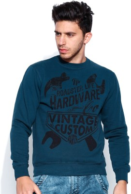 Roadster Full Sleeve Printed Men's Reversible Sweatshirt
