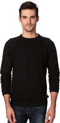 Van Heusen Woven Round Neck Party Men's Black Sweater