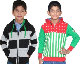 Shaun Full Sleeve Striped Boys Sweatshirt