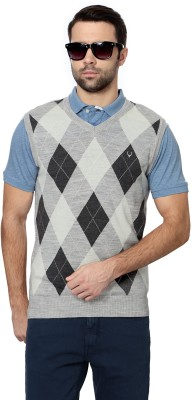 Allen Solly Argyle V-neck Men's Grey Sweater