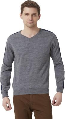 Peter England Self Design V-neck Men's Grey Sweater