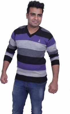 Black Chip Full Sleeve Striped Men's Sweatshirt