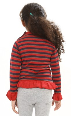 Bio Kid Striped Round Neck Casual Girl's Red Sweater