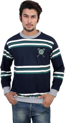 Gazelle Active Full Sleeve Solid, Striped Men's Reversible Sweatshirt