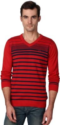 Van Heusen Striped V-neck Casual Men's Red Sweater
