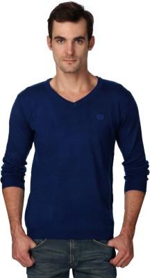 Van Heusen Self Design V-neck Casual Men's Blue Sweater