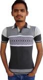 Igsmart Striped Men's V-neck Grey T-Shir...