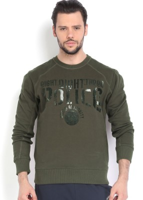 883 Police Full Sleeve Self Design Men,s Sweatshirt