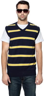 Allen Solly Striped V-neck Men's Dark Blue Sweater