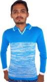 Igsmart Self Design Men's Polo Neck Blue...
