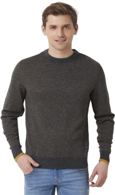 Peter England Solid Round Neck Men's Grey Sweater